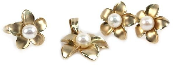 LOT OF 14K GOLD AND PEARL MAUI DIVERS JEWELRY