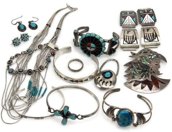 DEALERS LOT OF STERLING SILVER & TURQUOISE JEWELRY