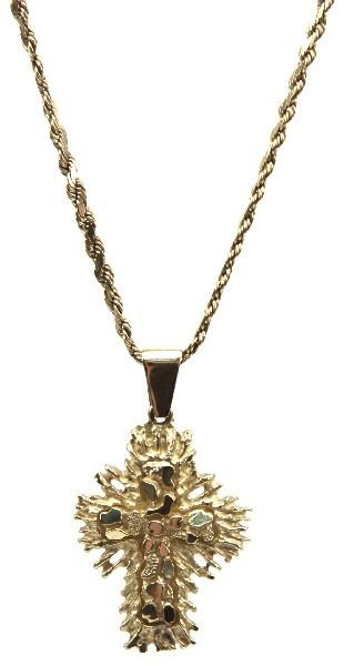14K GOLD MENS NECKLACE WITH CROSS CHARM