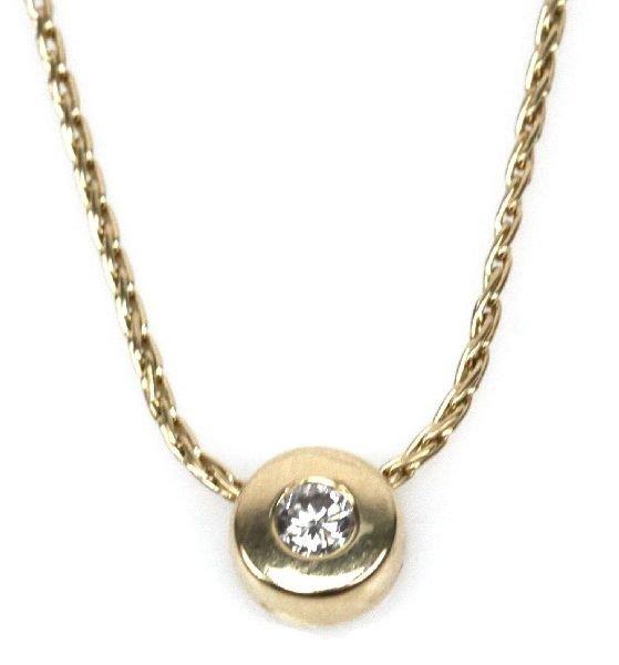 LADIES 14K YELLOW GOLD NECKLACE & DIAMOND PENDANT