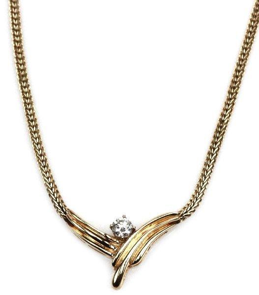 LADIES 14K GOLD & DIAMOND NECKLACE 0.52 CTS