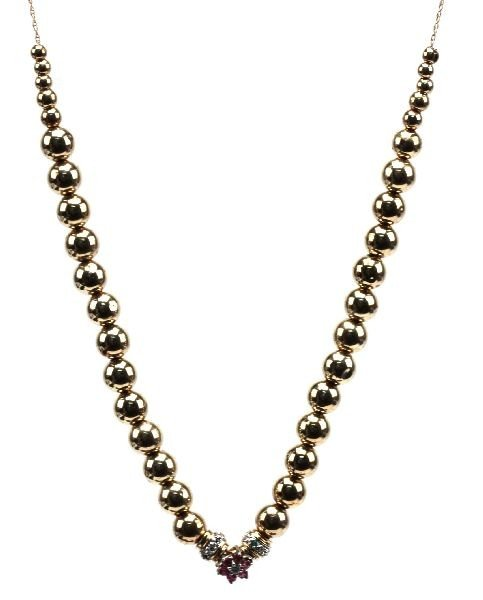 LADIES 14K YELLOW GOLD NECKLACE WITH 18K BEADS