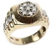 MENS 14K YELLOW GOLD  DIAMOND RING W COA