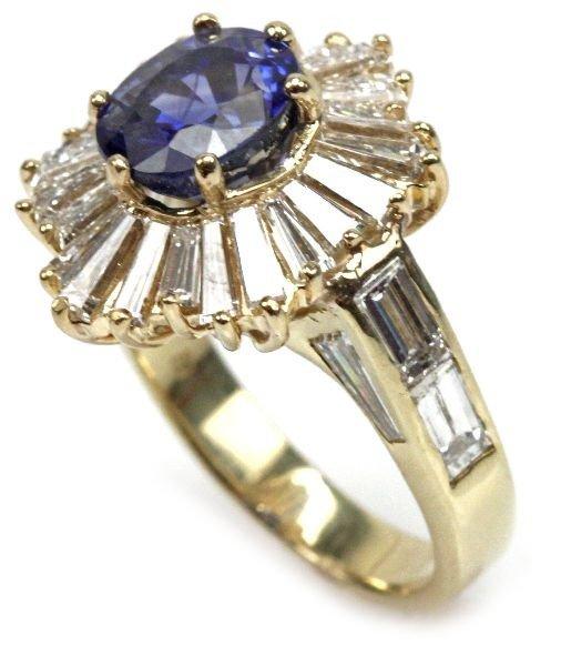 LADIES 18K GOLD NATURAL SAPPHIRE & DIAMOND RING - 2