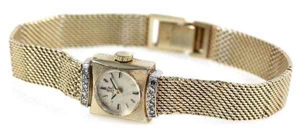 VINTAGE OMEGA LADIES 14K DRESS WATCH WITH DIAMONDS