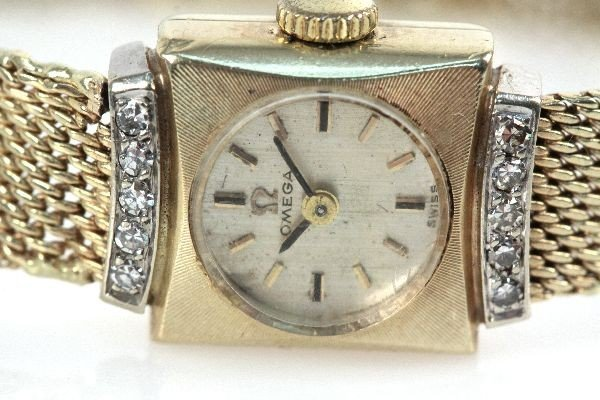 VINTAGE OMEGA LADIES 14K DRESS WATCH WITH DIAMONDS - 3