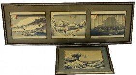 2 FRAMED JAPANESE PRINTS BY HOKUSAI AND HIROSHIGE