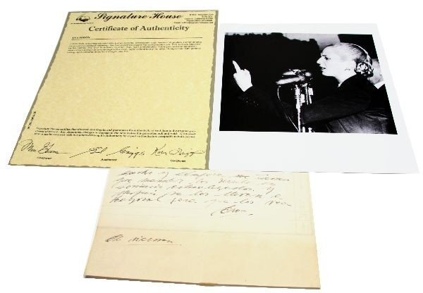 EVA PERON HANDWRITTEN SIGNED NOTE WITH PHOTO