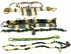 MIXED LOT OF NATIVE AMERICAN BONE CHOKERS AND MORE