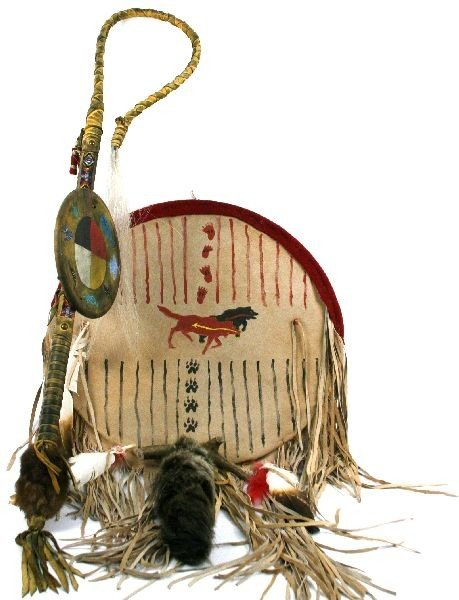 LARGE MEDICINE SHIELD BEADED COUP STAFF WITH SHIED