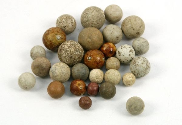 COLLECTION OF CLAY NATIVE AMERICAN GAMING BALLS OH