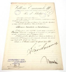 DOCUMENT SIGNED BY VITTORIO EMANUELE & MUSSOLINI