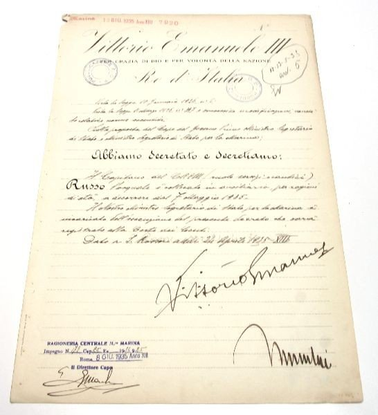 DOCUMENT SIGNED BY VITTORIO EMANUELE & MUSSOLINI