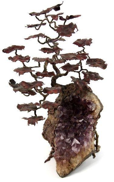 DECORATIVE AMETHYST AND BRONZE TREE