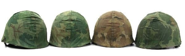 GROUPING OF 4 VIETNAM ERA M1 HELMETS WITH LINERS