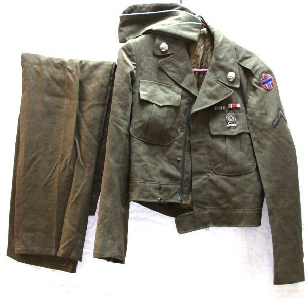 WWII CUSTOM ZIPPERED EM'S IKE JACKET HAT TROUSERS