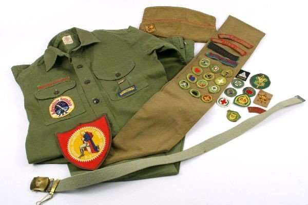 BOY SCOUT LOT UNIFORM 1950 BADGES JAMBOREE