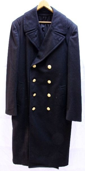 WWII NAVAL OFFICERS WOOL LONG OVER COAT