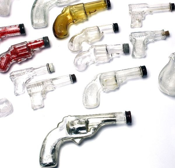 19 ANTIQUE GUN GLASS CANDY CONTAINERS - 4