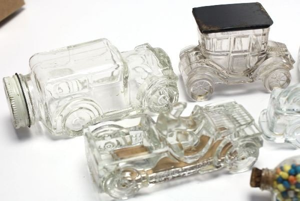 12 ANTIQUE CAR GLASS CANDY CONTAINERS - 2