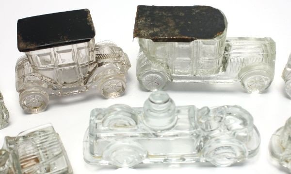 12 ANTIQUE CAR GLASS CANDY CONTAINERS - 3