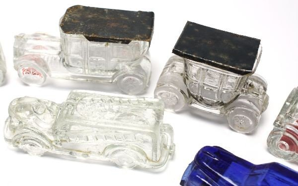 12 ANTIQUE CAR GLASS CANDY CONTAINERS - 4