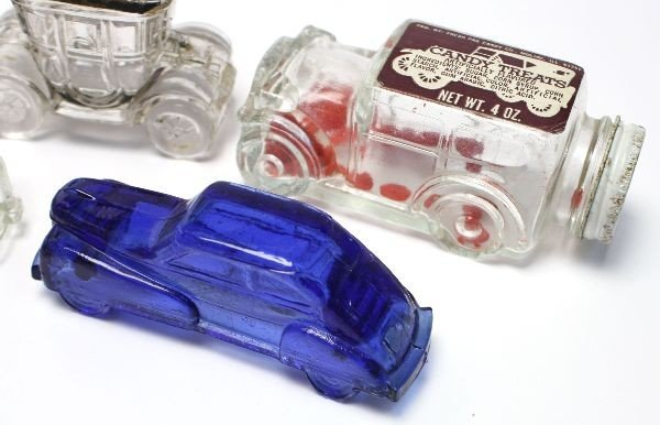 12 ANTIQUE CAR GLASS CANDY CONTAINERS - 5