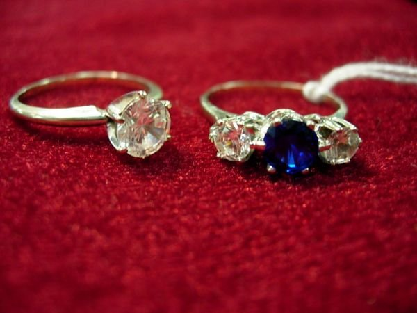 92411: 14K WHITE GOLD CUBIC ZIRCONA SAPPHIRE  RING LOT