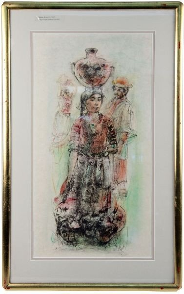 EDNA HIBEL LITHOGRAPH OF NATIVE AMERICAN GIRL