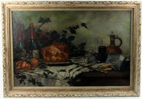 LARGE ARTS AND CRAFTS PERIOD STILL LIFE PAINTING