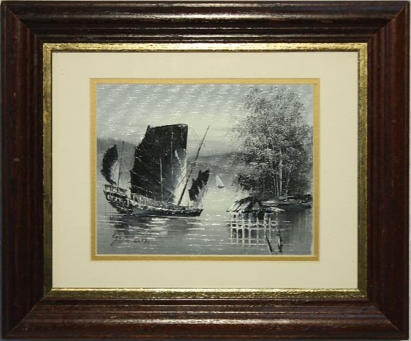 FRAMED PAINTING OF SAIL BOAT ON PAPER
