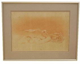 ORIGINAL JOHN LOCASTRO PASTEL OF A NUDE WOMAN