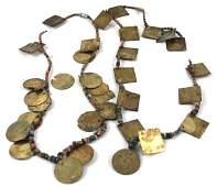 PRECOLUMBIAN GOLD TUMBAGO AND BEADED NECKLACE
