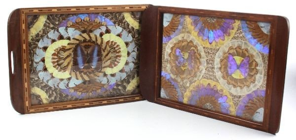 VINTAGE WOOD INLAY BUTTERFLY WING TRAYS