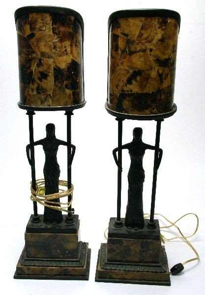 PAIR OF MAITLAND SMITH FIGURAL ART DECO LAMPS