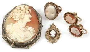 LOT OF LADIES GOLD CAMEOS VINTAGE ANTIQUE