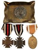 3 WWI GERMAN MEDALS AND TRENCH ART TRAY