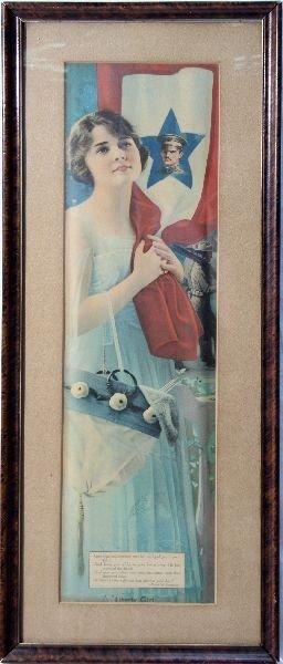 ORIGINAL WWI LIBERTY GIRL PATRIOTIC POSTER