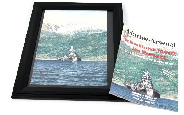 PAINTING OF GERMAN WWII TIRPITZ & BRUNNER TEXT