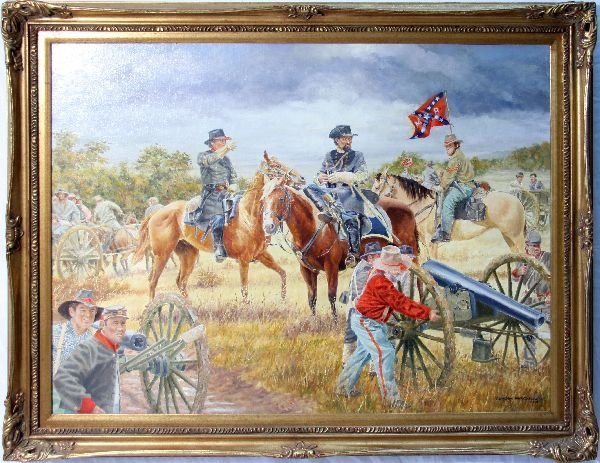 CLYDE HERON CONFEDERATE FRAMED & SIGNED PAINTING