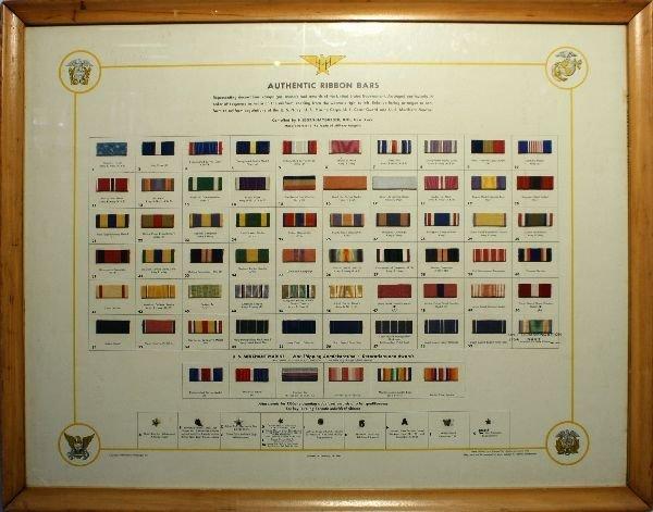 1944 FRAMED HILBORN AUTHENTIC RIBBON BAR DISPLAY
