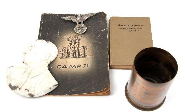 "GERMAN CAMP 71 HITLER BUST 5"" SHELL RIFLE BOOK LOT"