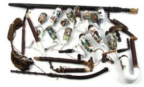 COLLECTION OF 15 GERMAN WWI ERA PORCELAIN PIPES