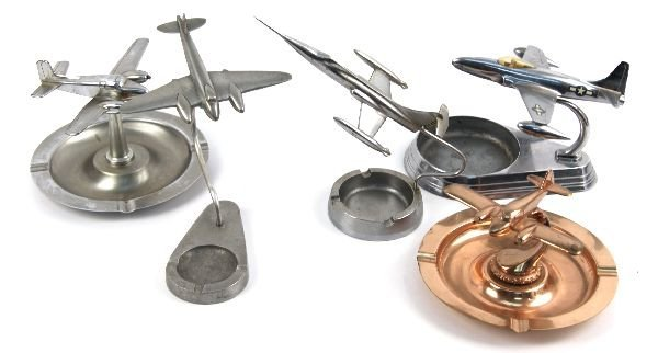 LOT OF FIVE 1950'S AIRPLANE ASHTRAYS