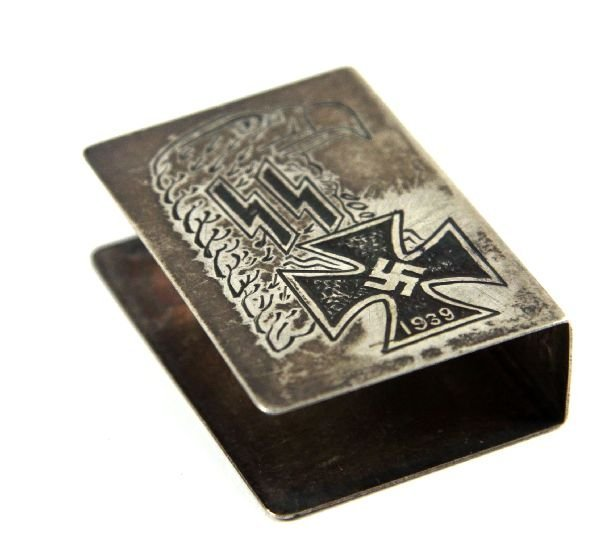 WWII GERMAN SS ENGRAVED MATCH BOX COVER