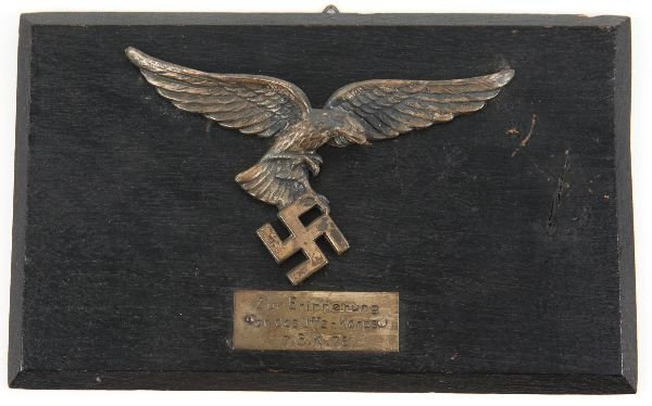 WWII GERMAN LUFTWAFFE EAGLE PLAQUE