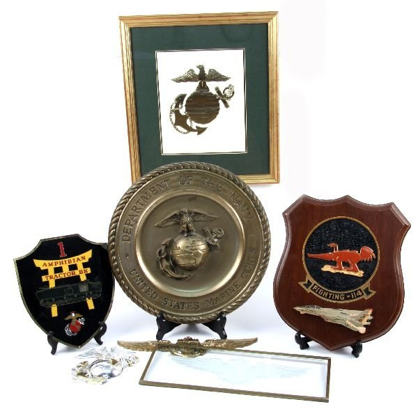 US MARINE CORPS & OTHER EMBLEM LOT OF SIX PIECES