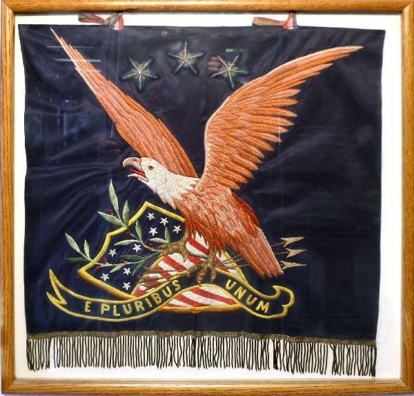 WWI WWII THREE STAR GENERAL BULLION EAGLE FLAG