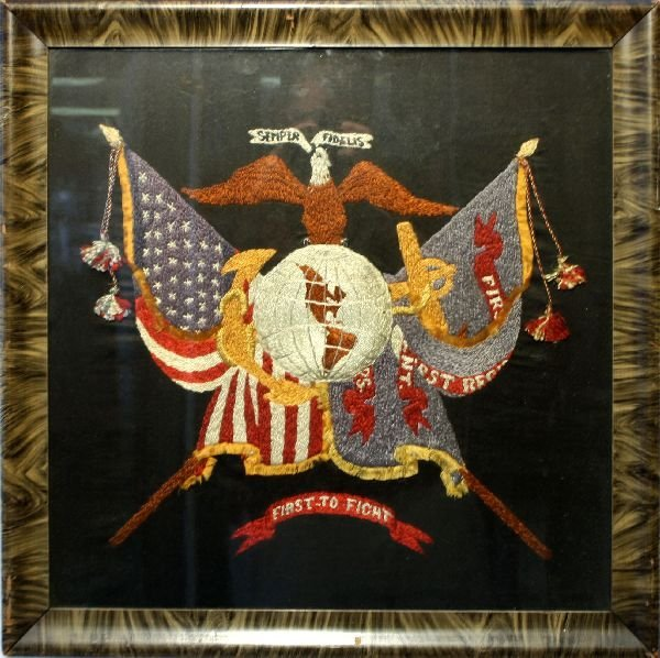 WWII USMC MARINE CORP EMBROIDERED EAGLE & GLOBE