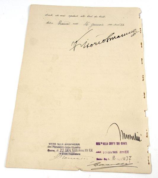 MUSSOLINI & KING EMANUELE III SIGNED DOCUMENT